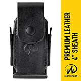 "Leatherman - Premium Leather Sheath with Pockets, Fits 4"" Tools - Black"