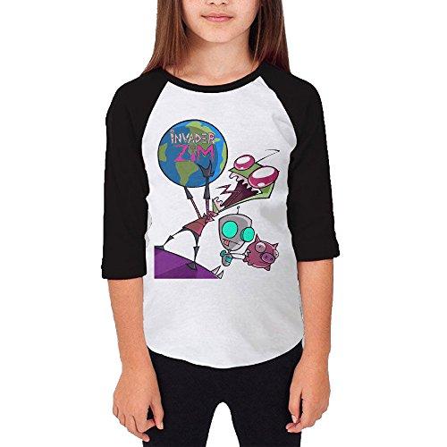 [KSWFA Youth Girls Invader Zim Gir Raglan 3/4 Sleeve T-Shirt Black Size L] (The Sims 3 Costume Chest)