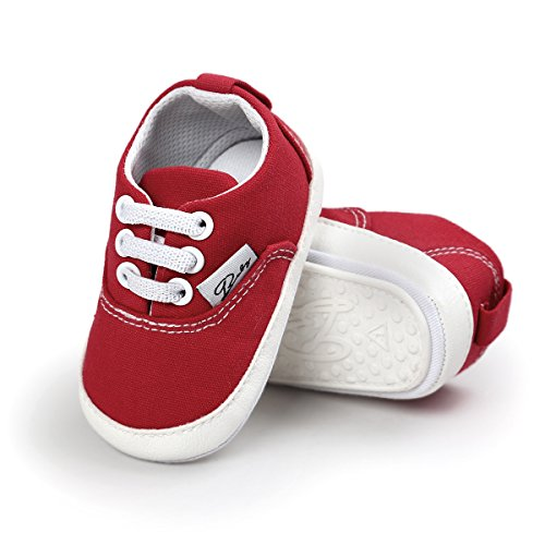 Baby Girls Boys Canvas Shoes Soft Sole Toddler First Walker Infant High-Top Ankle Sneakers Newborn Crib Shoes (L: 5.12 inch(12-18 Months), B-Red)