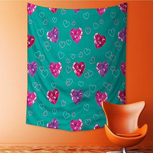 Polyester Tapestry Multi Purpose Teal Crystal Hearts Gemstone Jewelry Celebrating Romantic Art Wall Hanging for Bedroom Living Room Dorm 40W x 60L (Small Gemstone Map)