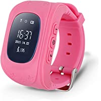 Azul Rosa Verde Monitor Children GPS Tracking An-ti Lost Finder SOS Q50 Smart Watch Safety Tracker Niños Reloj Inteligent Whith SIM Card Support Android IOS (Rosa)