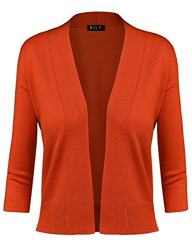 BILY Women's Classic Open Front Cropped Cardigan Orange Large