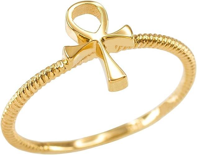 Nuevo Ankh Egipcio Cruz Oro Anillo De Banda De Acero Inoxidable Hombres Joyería religiosa