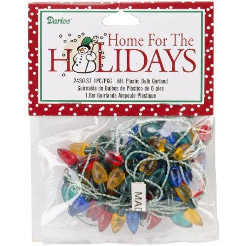 - Darice Plastic Christmas Bulbs, 6-Feet, Garland-Multicolor