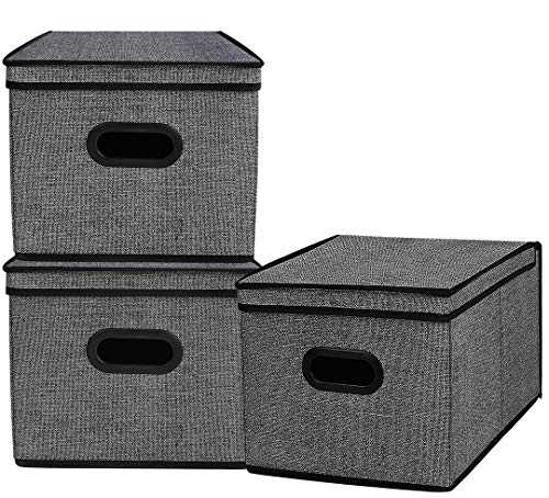 Homyfort Foldable Storage Bins Cube Boxes with Lid, Linen Polyester Basket Closet Organizer for Home, Bedroom,Clothes, with Double Plastic Handles,Set of 3 Black with Pattern