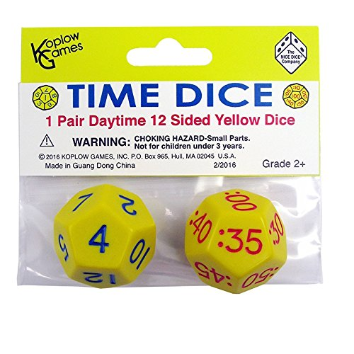 KOPLOW GAMES TIME DICE PAIR OF YELLOW AM