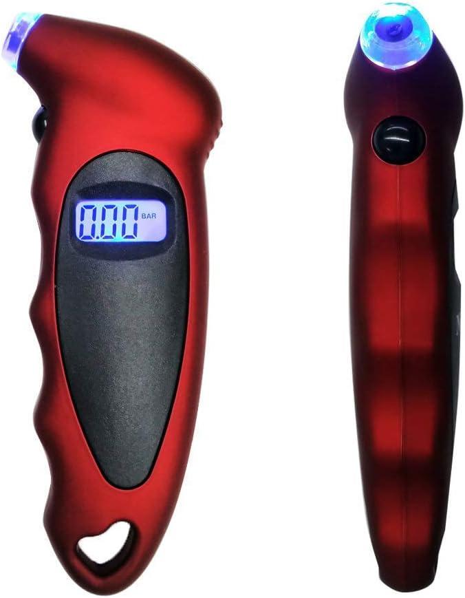 JoyFan Digitales Reifendruckmessger/ät Hintergrundbeleuchtetes LCD-Display Rutschfester Griff Digitalanzeige-Druckdetektor