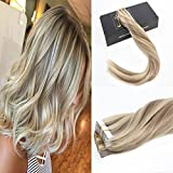 Sunny 16″ Remy Tape in Hair Extensions 40pcs 100g Two Tone Color Dark Ash Blonde with Golden Blonde Highlights Seamless Tape Human Hair Extensions Review