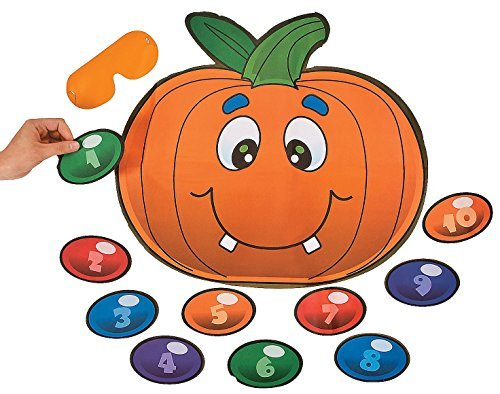 Fun Express - Silly Pin The Nose On The Pumpkin Game for Halloween - Toys - Games - Pin The & Bulls Eye Games - Halloween - 2 Pieces