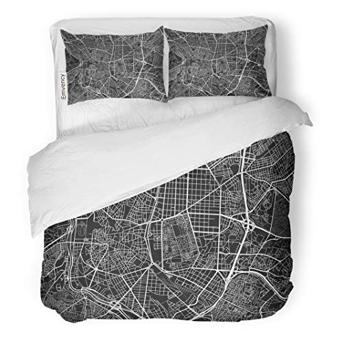 Semtomn Decor Duvet Cover Set Full/Queen Size Black and White City Map of Madrid Well Organized 3 Piece Brushed Microfiber Fabric Print Bedding Set Cover for $<!--$99.90-->