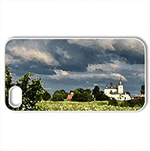 Beautiful landscape - Case Cover for iPhone 4 and 4s (Fields Series, Watercolor style, White) by icecream design