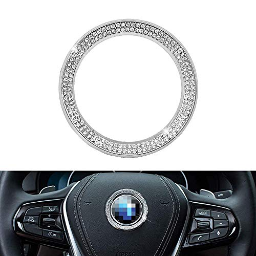 (Senauto Bling Steering Wheel Emblem Badge Logo Cover Trim Circle Ring Decoration Compatible with BMW 1 3 5 7 Series X1 X 3 X 5 X6)