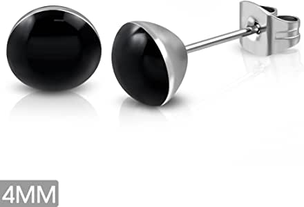 Stainless Steel Black Circle Stud Earrings 4mm - LEB472 pair