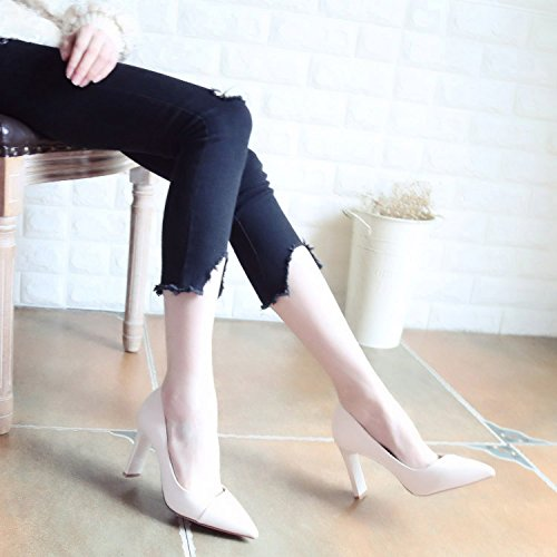 Xue Qiqi Pumps Sandalen Schuhe Dick mit Hochhackigen Schuhe Minimalistische Schuhe Frauen Video Dünner Spitze Licht - Schuhe die Einzigen Schuhe Frauen