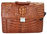 Authentic M Crocodile Skin Mens Hornback Strap Briefcase Business Bag Large Handbag (Tan)