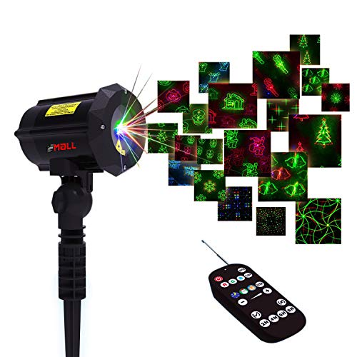 Motion Pattern Firefly 3 Models in 1 Continuous 18 Patterns LEDMALL RGB Outdoor Laser Garden and Christmas Lights with RF Remote Control and Security kit (Pattern Christmas Bulb)