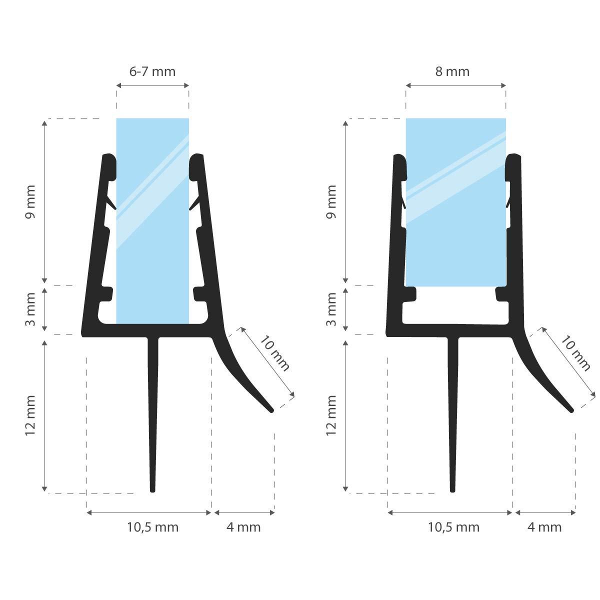 Gerade PVC Ersatzdichtung f/ür Dusche Glasst/ärke 3,5// 4// 5 mm STEIGNER Duschdichtung UK13 200cm