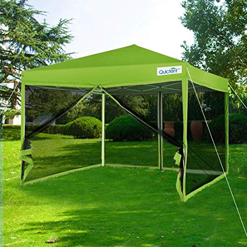Quictent 8x8 Ft Easy Pop up Canopy with Netting Screen House Tent Mesh Side Walls Waterproof ()