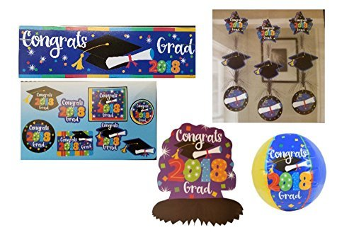 2018 Graduation Party Decorations Bundle: Accessories Include Congrats 2018 Grad Party Banner, Table Centerpiece, Hanging Decorations, Cutouts, and a Beachball in a Confetti Design