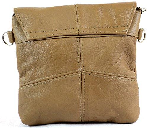 de negro Bolsa mano marrón Beige con correa piel Señoras extraíble de bolso negro Cruz Cuerpo claro práctico hombro beige marrón z8IRqHn4