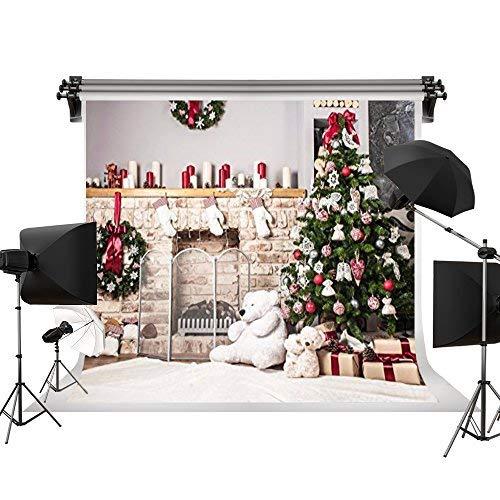 (Kate 7x5ft/2.2x1.5m(W:2.2m H:1.5m) Holiday Christmas Tree Backdrop Photography White Brick Fireplace Newborn Christmas Photo Studio Background)