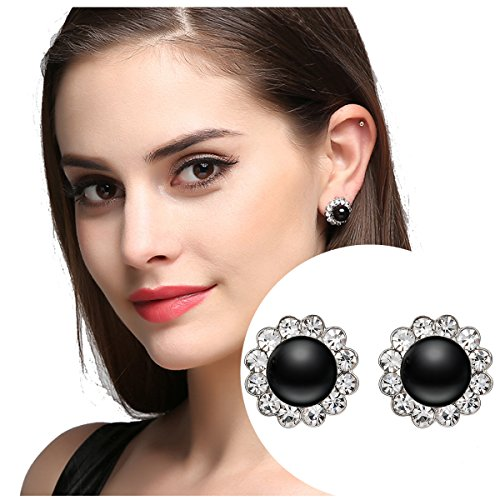 (Black Erxtra Large Faux Pearl Clip on Earrings Antique Cute Flower Earrings for Women)