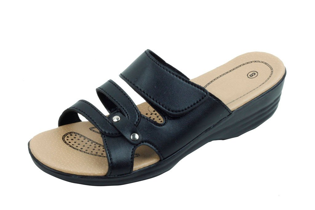 Jeffrey D Women Open Toe Comfort Slide Wedge Shoe Sandals (Black-C, 10)