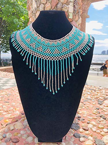 (Amor Mio Beaded Collar Necklace Beautiful Pretty Elegant Beaded (Turquoise and Silver with Fringe))