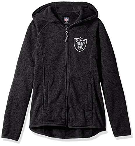 GIII For Her NFL Oakland Raiders Women's Kick Off Full Zip Jacket, Small, Black