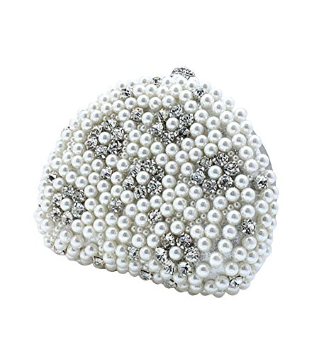 MissFox Women's Pure Color Bead Rhinestone Handbag Clutch Evening Bag Silver White