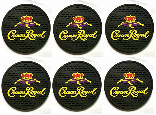 Crown Royal Black Canadian Whisky Bar Coasters Spill Mats set of 6 -