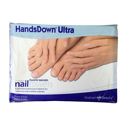 Graham Hands Down Ultra Plastic-Backed Nail Care Towels, 50 Count (Plastic Towels)