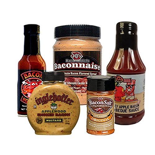 Bacon Condiment Sampler Pack (5pc Gift Set) Baconnaise Bacon Mayo, Bacon BBQ Barbecue Sauce, Bacon Hot Sauce, Bacon Mustard & Bacon Salt