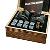 BIRDSBERRY Whiskey Stones & Glasses Set | 8 Chilling Cube Rocks with Bag, Wood Box & Double Glasses | Better Than Ice | Cool Whisky Scotch Bourbon Wine Drinks Without Dilution | Gift Dads Husbands Men