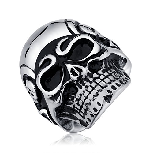 Cool Skull Ring 316L Stainless Steel Biker Rings for Men Size 10 Gothic Band Birthday Gifts for Boys