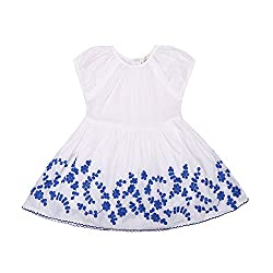 Domiray Little Girls Dresses White Cotton with Blue Flower Embroid (3-4 Years)