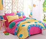 Newrara Home Textile,korean Flower Bedding Sets,luxury Girls Pink Lace Ruffle Bedding Sets,romantic Princess Wedding Bedding Set,girls Fairy Bedding Sets (Bed Skirt Style)