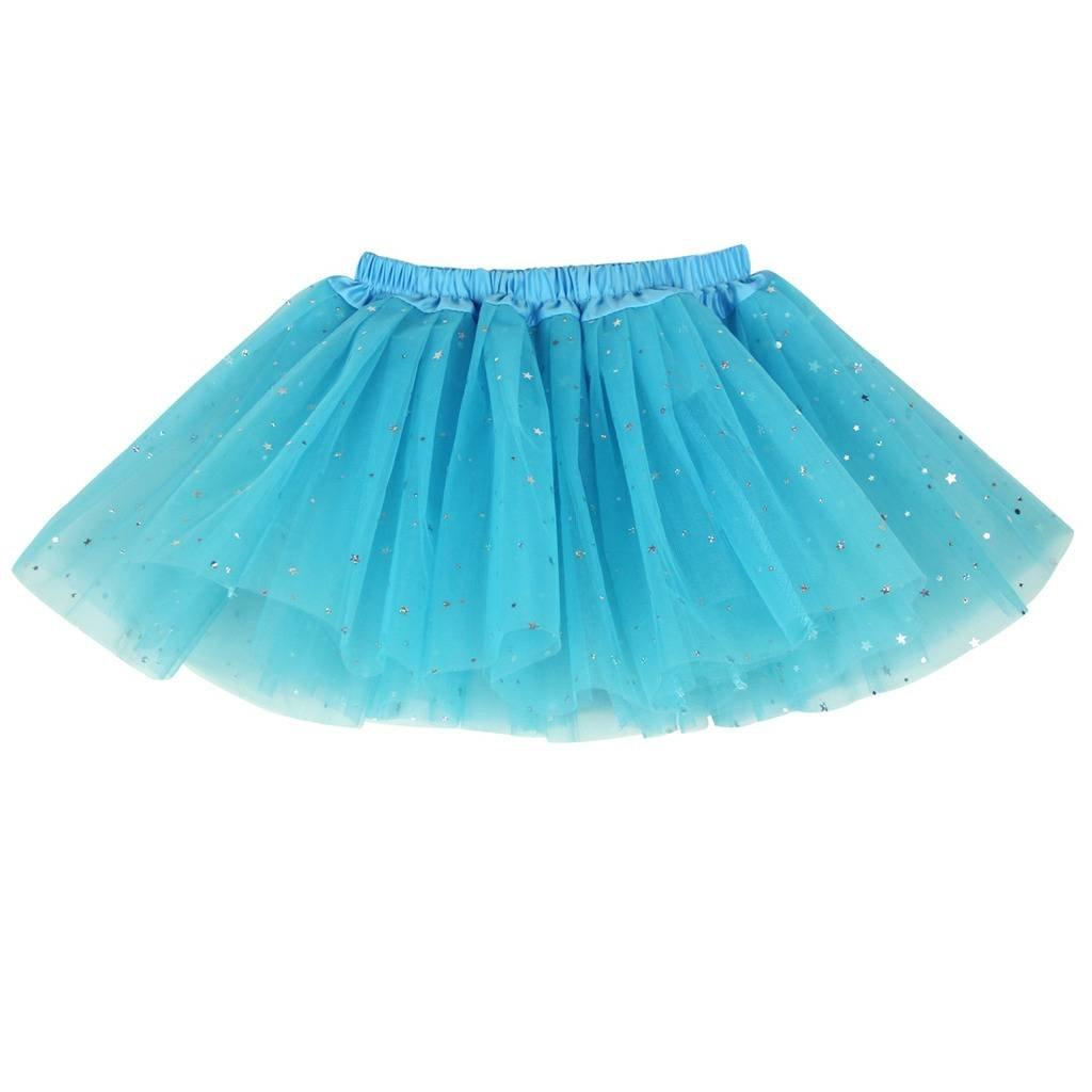 Buenos Ninos Girls 3 Layers Sequin Ballet Skirt with Sparkling Stars Dress-up Tutu