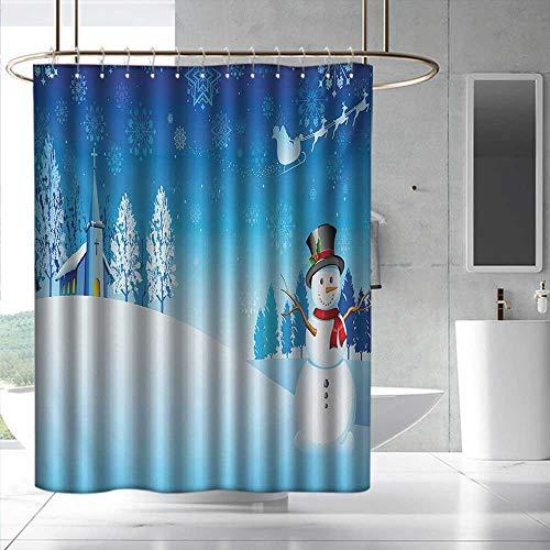 Christmas Modern Shower Curtain Snowman on The Christmas Eve Santas Sleigh in The Starry Sky Fantasy Artwork Bathroom Curtain Washable Polyester W72 x L72 Blue White