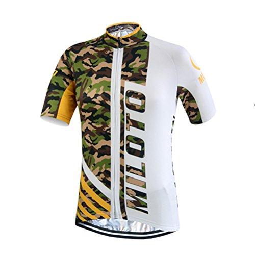 Camouflage Short Sleeve Jersey - Uriah Men's Cycling Jersey Short Sleeve Reflective Camouflage White Size XL(CN)