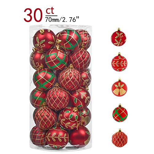 Teresa's Collections 30ct 70mm Country Road Red Green and Gold Shatterproof Christmas Ball Ornaments Decoration,Themed with Tree Skirt(Not Included)