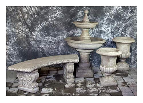 Fleur de Lis Garden Ornaments LLC Ravello Two Tier Fountain with Italian Palazzo Urns Package Number 1015 ()
