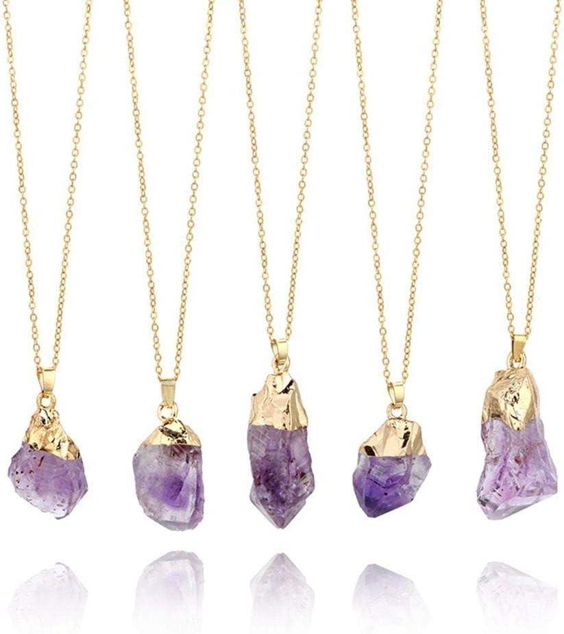 1PC Natural Amatista Colgante de Piedras Preciosas de Cristal de Cuarzo Punto de Piedra curativo del Collar con Cadena Larga Amatista Colgante Decoración