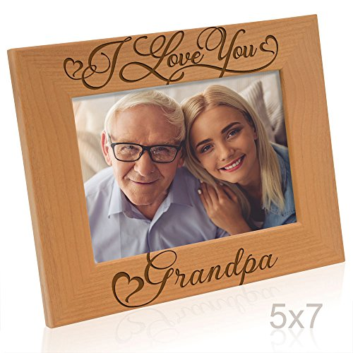 Kate Posh I Love You Grandpa-Natural Wood Engraved Picture Frame-Father's Day Gifts, Christmas Gifts, Gifts for Grandfather, Grandparent's Day Gits, New Grandma Picture Frame (5x7-Horizontal) by Kate Posh