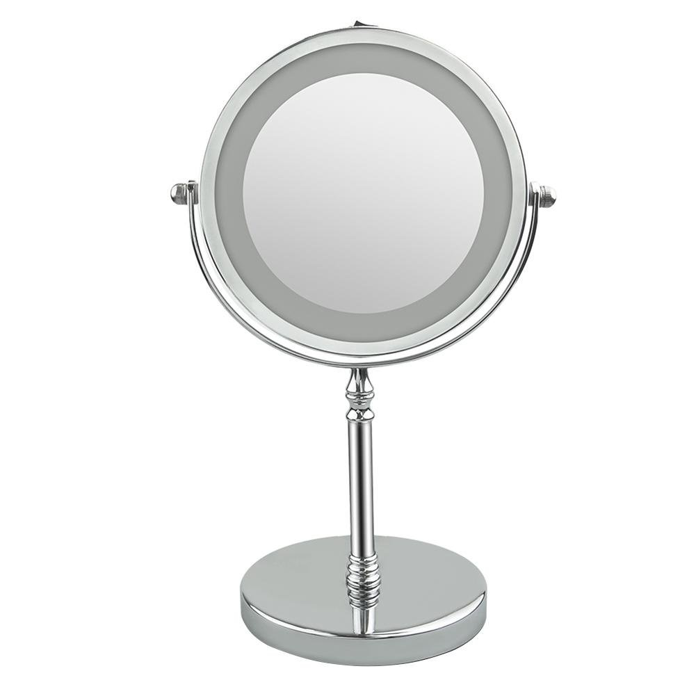 WinnerEco 7 inch 360 Degree Makeup Mirror LED Lamp 5X Magnifier Table Cosmetic Mirror