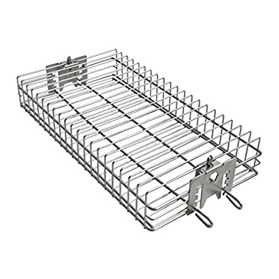 """Onlyfire 6042 Chrome Plating Steel Flat Spit Rotisserie Grill Basket Fits 1/2"""" Hexagon, 3/8"""" Hexagon, 3/8"""" Square & 5/16"""" Square Spit Rods for Any Grill"""