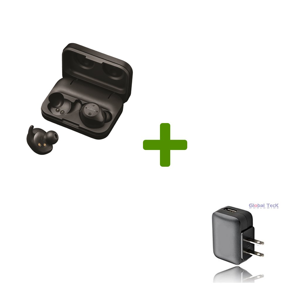 Jabra Elite Sport EarBuds Jabra Elite Sport EarBuds Bundle with Bonus AC Adapter - Bluetooth Cordless Water/Dust proof Earbuds for Android or Apple iOS Smartphones - 3yr Warranty |100-98600001-02-B