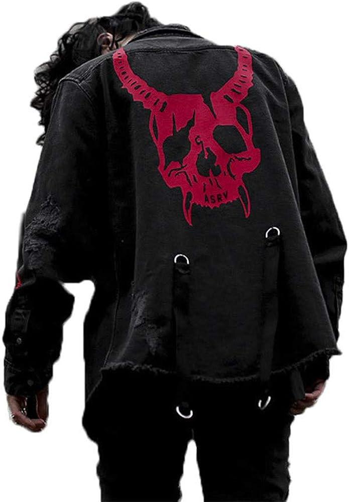 Dcola Camicia di Jeans da Uomo Giacca Hip-Hop Punk T-Shirt con Collo Alto A Maniche Lunghe Autunno//Inverno Nero Felpa Casual Oversize Camicia di Jeans Scura di Halloween