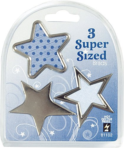 Hot Off The Press Super Sized 1-1/2 Inch To 1-3/4 Inch Brads 3/Package, Silver Star