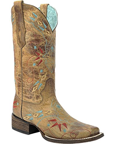 Corral Women's Vintage Saddle Embroidered Cowgirl Boot Square Toe Sand 7.5 M US